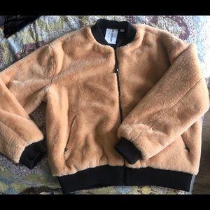 ASOS COLLUSION Unisex Faux Fur Bomber Jacket Tan